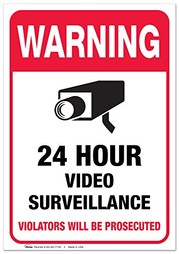 "((2 PACK) Video Surveillance Vinyl Sign - 7x10"" Sticker Self-Adhesive Decal Poster - Weatherproof, By ARMO)"