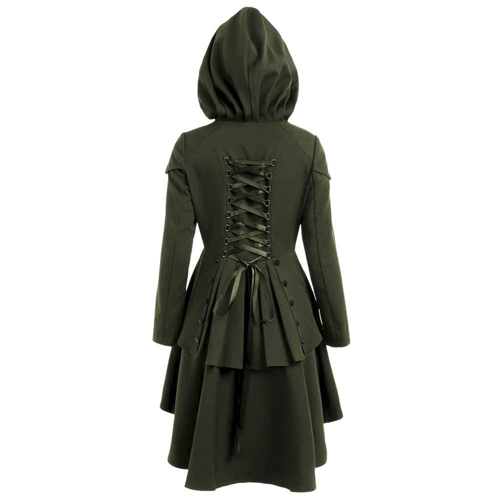 Yiwa Halloween Women Hooded Coat Fashion Lace Up High Low Dip Hem Top