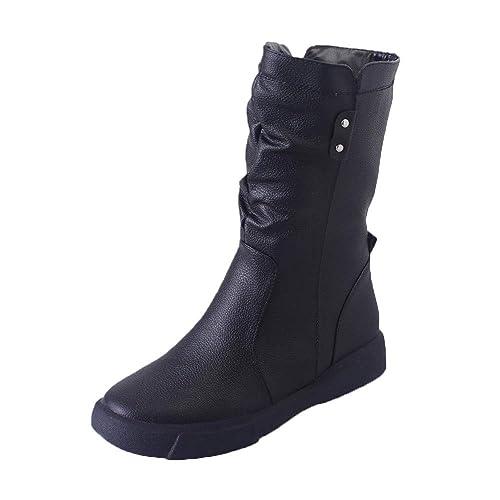 Moda Botines Mujer Medio Planos Invierno Tacon Ancho Piel Botas Casual Plataforma Botas de Punto Zapatos Ankle Boots Zapatos con Suela Calzado Deportivo ...