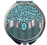 Rikki Knight Letter''A'' Sky Blue Leopard Print Stripes Monogram Design Round Compact Mirror