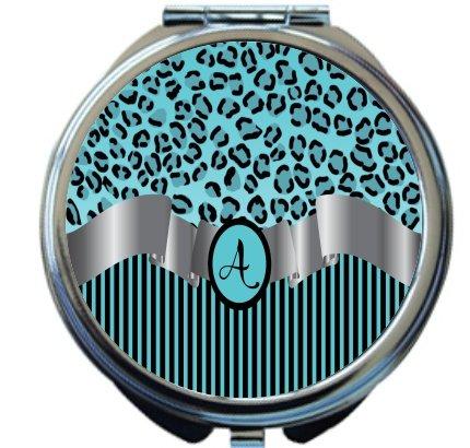 Rikki Knight Letter''A'' Sky Blue Leopard Print Stripes Monogram Design Round Compact Mirror by Rikki Knight