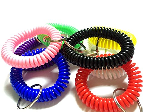 Happyi 8pcs Colorful Soft Coil Stretch Wristband Keychain for Gym, Pool, Id Badege