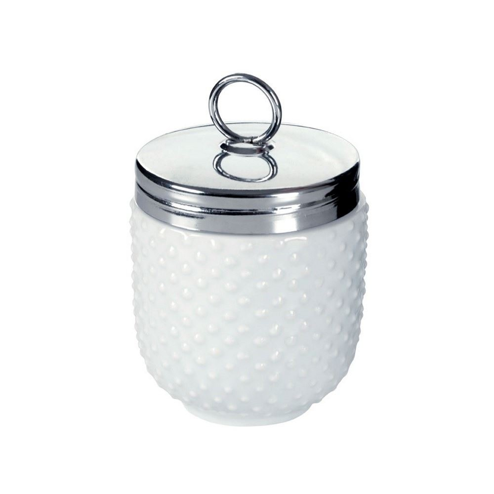 DRH Egg Coddler with White Dots For Easy Cook Meals and Ways To Cook Eggs In Porcelain Dish