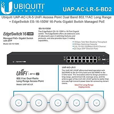 Ubiquiti UAP-AC-LR-5 UniFi Access Point AC 11AC 2.4/5GHz + ES-16-150W EdgeSwitch 16-Port Managed PoE+ Gigabit