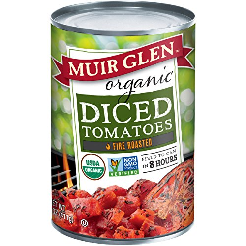 Rich Tomato - Muir Glen Canned Tomatoes, Organic Diced Tomates, Fire Roasted, No Sugar Added, 14.5 Ounce Can (Pack of 12)