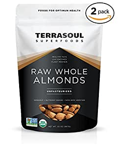 Terrasoul Superfoods Raw Unpasteurized Organic Almonds (Sproutable), 4 Pounds