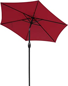 Aok Garden 7.5 ft Outdoor Umbrella - Patio Table Market Umbrella with Push Button Tilt and Crank 7 Sturdy Aluminum Ribs for Deck, Lawn, Pool& Backyard, Dark Red