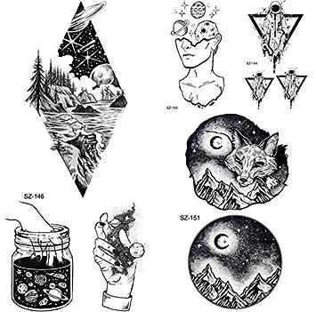 yyyDL Diamond Timber Black Mountain Fox tatuaje temporal hombres ...