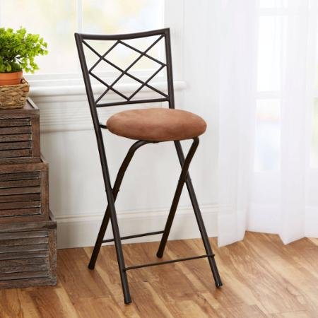 diamond x back folding 24 counter stool bronze with beige microfiber cushion furniture chairs. Black Bedroom Furniture Sets. Home Design Ideas