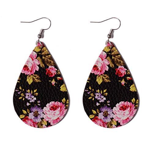 L&N Rainbery Floral Leather Teardrop Earrings for Women Faux Leather Statement Drop Earrings Light Weight (Pink Black) (Pink Floral Earrings)