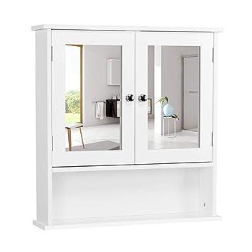 Fine Yaheetech Bathroom Wall Mount Medicine Cabinet With Double Mirror Doors And Adjustable Shelf Bedroom Kitchen Wooden Storage Cabinets Organizer White Download Free Architecture Designs Licukmadebymaigaardcom