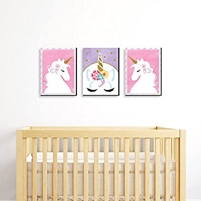 "Rainbow Unicorn - Baby Girl Nursery Wall Art & Kids Room Decor - 7.5"" x 10"" - Set of 3 Prints"