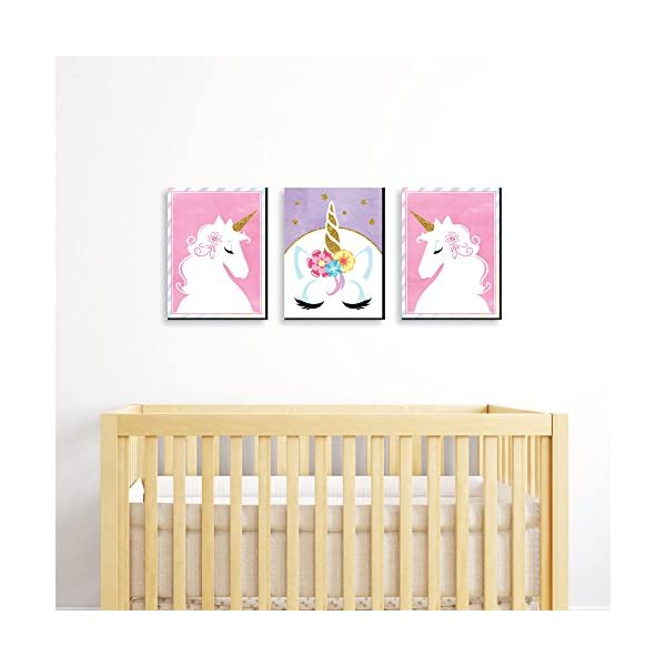 Big Dot of Happiness Rainbow Unicorn - Baby Girl Nursery Wall Art and Kids Room Decorations - 7.5 x 10 inches - Set of 3 Prints 4