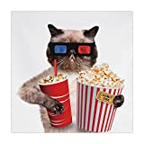 Polyester Square Tablecloth,Movie Theater Decor,Cat with Popcorn and Drink Watching Movie Glasses Entertainment Cinema Decorative,Multicolor,Dining Room Kitchen Picnic Table Cloth Cover,for Outdoor In