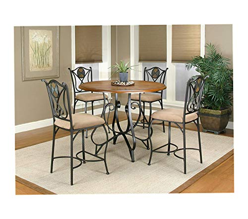 Wood & Style Vail Dining Pub Table Set Espresso/Dark Oak/Beige Decor Comfy Living Furniture Deluxe Premium Collection