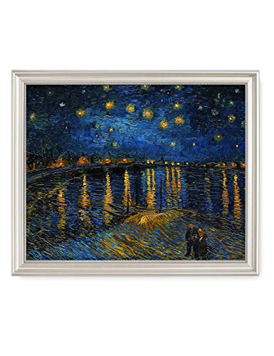 Art Framed Rhone (DECORARTS - Starry Night Over The Rhone, Vincent Van Gogh Art Reproduction. Giclee Print& Framed Art for Wall Decor. 20x16, Framed Size: 22x18)