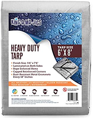 2 Pack Camping Waterproof Plastic Poly 10 Mil Thick Tarpaulin with Metal Grommets Every 18 Inches 6x8 Heavy Duty Tarp for Roof Reversible, Silver and Brown Outdoor Patio Rain or Sun