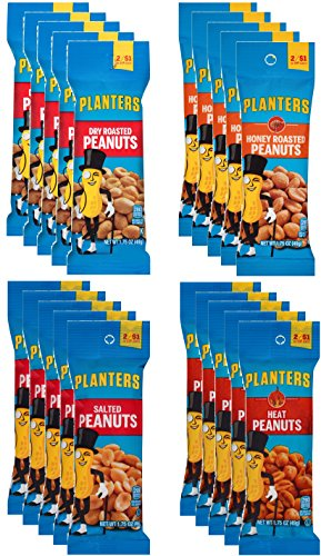 Planters Peanuts Single Serve Variety Pack, 4 Flavors, 1.75 oz Tubes (Pack of 20) ()
