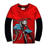 Little Boys Cotton Long Sleeve T-Shirts Red Motorcycle Tshirt(Red,2-3Years)