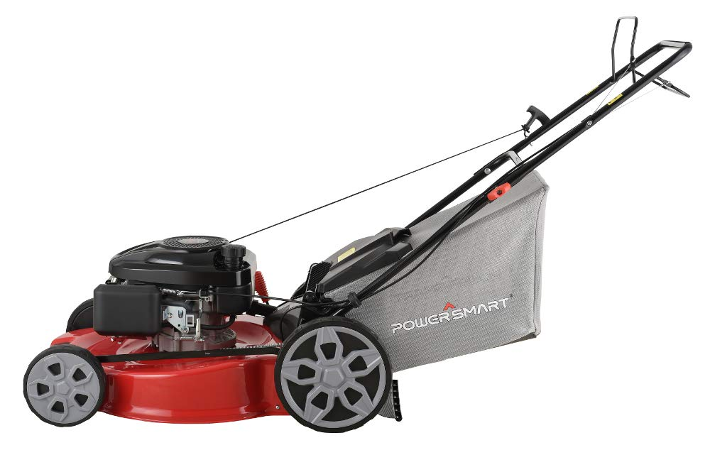 """Powersmart db2322s 22"""" 3-in-1 196cc gas self propelled lawn mower 4 powered by 196 cc engine delivering the right amount of power in a compact, lightweight package easy pull starting 3-in-1 bag, side discharge and mulching capability allows you to spread grass clippings to the side, returning key nutrients to your lawn so your grass can grow healthy and thick"""
