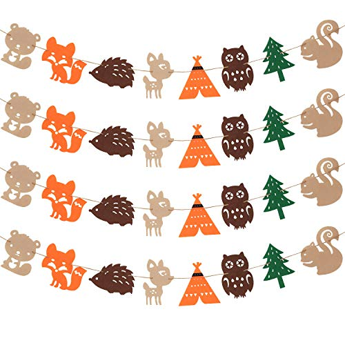 Chuangdi 4 Pieces Woodland Creatures Banner Forest Animals Felt Garland for Woodland Theme Baby Shower Wedding Birthday Party -