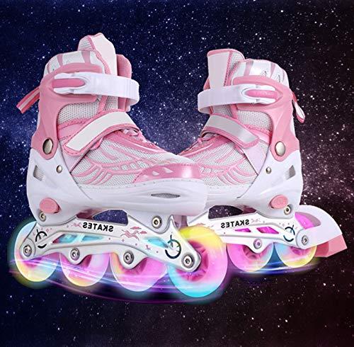 Flyerstoy Adjustable Inline Skates for Girls | Beginner Kids Rollerblades (Pink, US-S-12J-2)