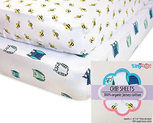Nursery Bedding for Girls & Boys - My Tiny Tot - Organic, Extra Soft, Fitted Blue & White Owl and Bee Sheet Set - Fits All Standard Crib's Mattresses for Babies Nursery Room