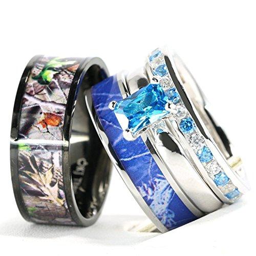 Stainless Steel Sterling Silver Ring - 4pcs His Hers Camo Blue Radiant Stainless Steel Sterling Silver Wedding Ring Set (Size Men 07; Women 08)