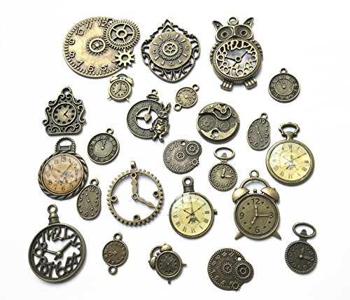 24pcs Mixed Antique Bronze Steampunk Gears Clock Face Charm Pendant for Necklace Bracelet DIY Jewelry Making Crafts (Antique Faces Necklace)
