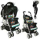 DUO Double buggy Twin 2 Tandem Pushchair stroller 2 seat units, fully reclining lie back at the rear for newborn, front fixed seat from 6 months. Complete with rain cover. Candy stripe by Kids Kargo