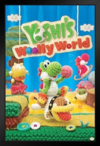 [ProFrames Yoshis Woolly World Nintendo Wii U Side Scrolling Platformer Video Game Cover Box Art Framed Poster 12x18] (Video Game Box Art)