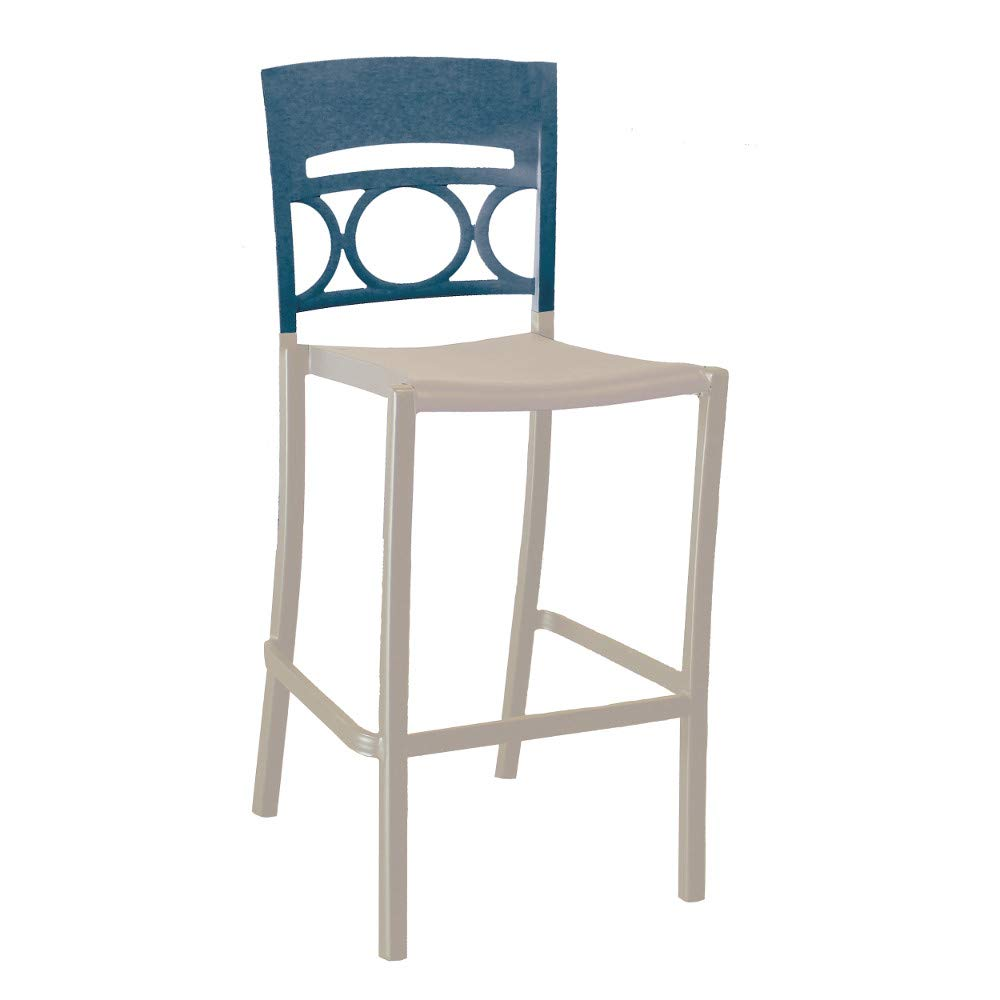 Grosfillex US456680 Moon Stacking Barstool, Armless, Denim Blue/Linen (Case of 2)