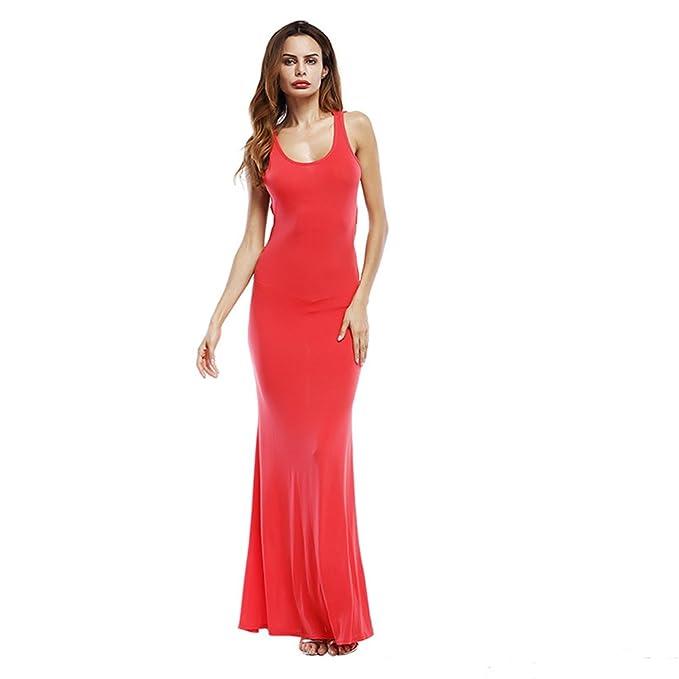 069b9e7286 DiiZii Mujer Vestidos Verano 2018 Sin Mangas Maxi Boho Largas Vestido Casual  T-Shirt Vestido de Playa