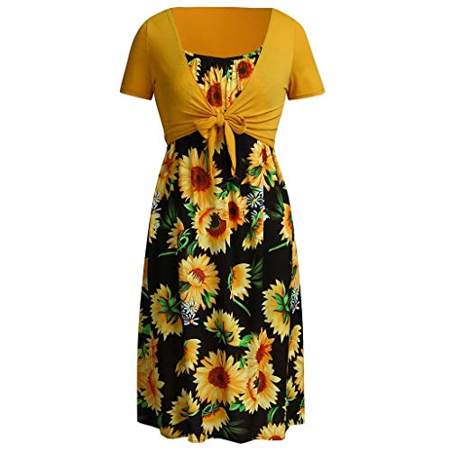 UIFIDI Women Fashion Sleeveless Suspender Sunflower Print Dress+Short Sleeve Top Suits Black