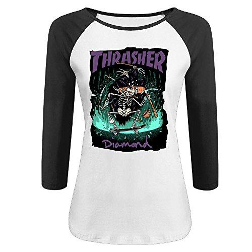 Liying Women's Thrasher Flame Skateboard 3/4 Sleeve Cotton Shirt XL -