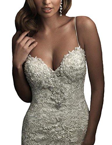 Dress Ivory Mermaid back Lace Wedding Open White Women's Sleeveless AbaoWedding® zYqHPw