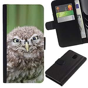 Samsung Galaxy Note 3 III - Dibujo PU billetera de cuero Funda Case Caso de la piel de la bolsa protectora Para (Funny Evil Owl)