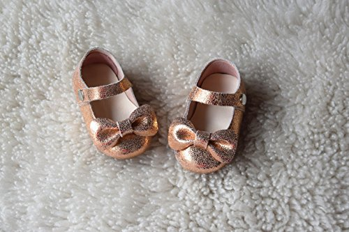 Rose Gold Leather Toddler Girl Mary Jane Shoes With Bow 12M-3T