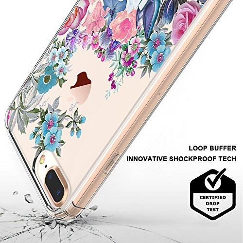 Funda iPhone 7 Plus, MOSNOVO Floral Flor Flower Transparente Cover Diseño de Plástico Impreso con TPU Bumper Protectora de Espalda Cubierta para iPhone 7 Plus (5.5) (Floral Garden) Brilliant Garden