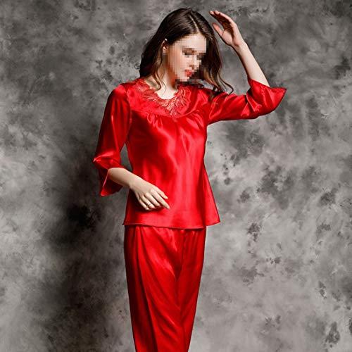 Mujer Shiduoli Xl Pijamas Dos Hogar De color 03 01 Piezas Informal Dormir Seda Larga Manga Para Traje Size El Ropa qYfr4q