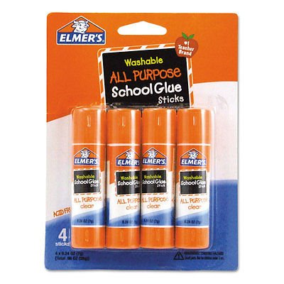 Elmer's Washable School Glue Sticks, .24 oz, Repositionable Stick, 4/Pk- (0.24 Ounce Repositionable Stick)