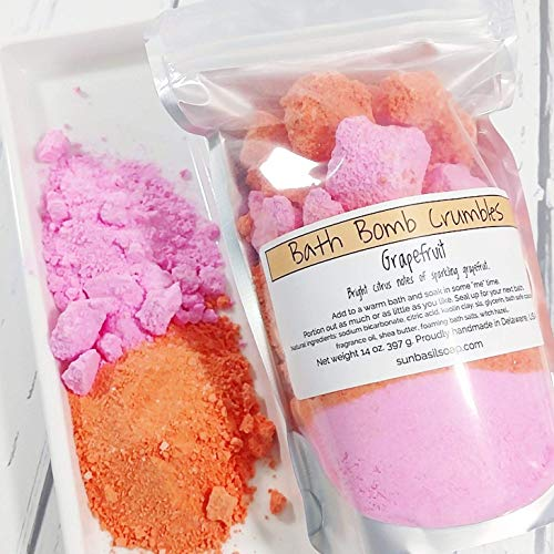 (Pampering gift for women. Grapefruit Citrus Bath Bomb Crumble Fizzy Powder Pack, 14 oz)