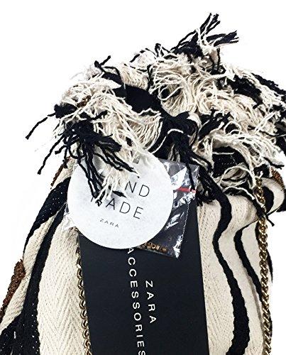 Zara Donna Tracolla a secchiello in tessuto a righe 2638/304 (Medium)
