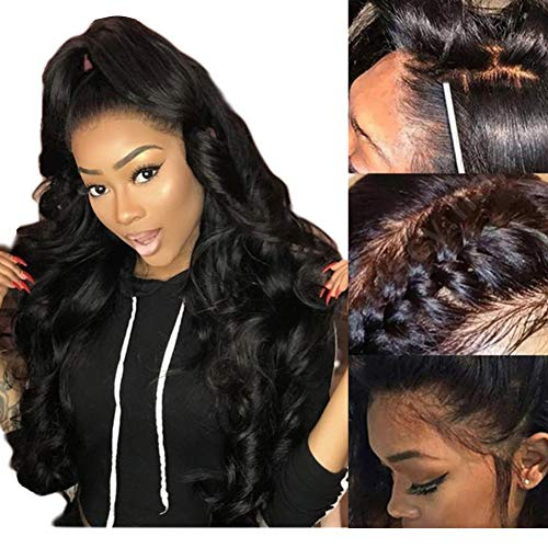 Natural Black Human Hair Wigs Pre Plucked With Baby Hair 360 Lace Frontal Wigs Glueless 150% Density Body Wave Hair Wig For Black Women (16 inches)