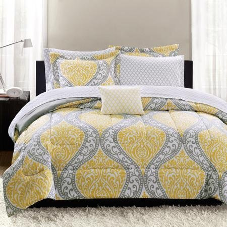 Mainstays Yellow Damask Bedding Bed-In-A-Bag, TWIN