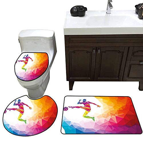 3 Piece Toilet lid Cover mat Set Teen Room Fractal Soccer Player Hitting The Ball Polygonal Abstract Artful Illustration Printed Rug Set Multicolor