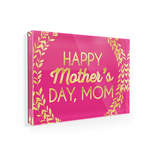 Fridge Magnet Happy Mother's Day, Mom Mother's Day Hot Pink and Gold Leaf Circle - NEONBLOND