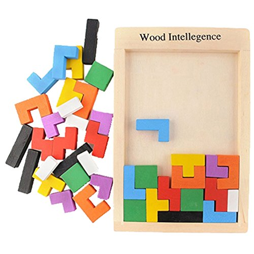 Floralby Wooden Peg Puzzles Blocks Kids Early Educational Toy for 3 4 5 Years Old ()
