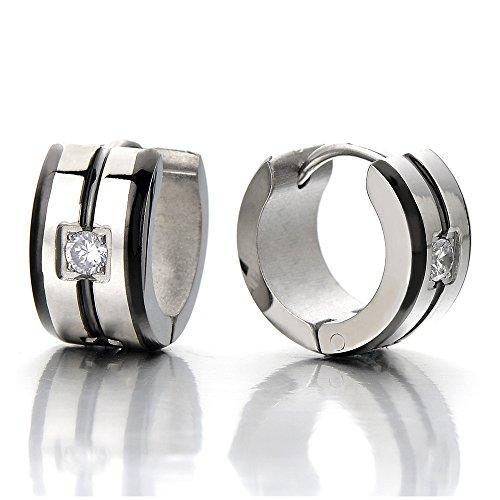 Huggie Hinged Earrings Zirconia Unisex