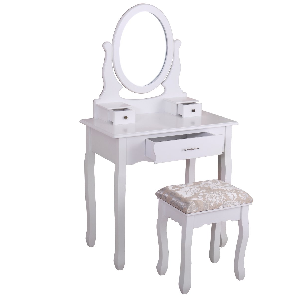 Winmart Vanity Wood Makeup Dressing Table Stool Set Jewelry Desk bathroom with Drawer Mirror White